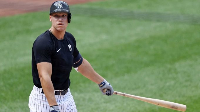 NEW YORK, NEW YORK - JULY 04: Aaron Judge #99 of the New York Yankees hits during summer workouts at Yankee Stadium on July 04, 2020 in the Bronx borough of New York City.