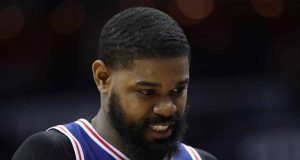 WASHINGTON, DC - OCTOBER 18: Amir Johnson #5 of the Philadelphia 76ers walks off the court after fouling out against the Washington Wizards at Capital One Arena on October 18, 2017 in Washington, DC. NOTE TO USER: User expressly acknowledges and agrees that, by downloading and or using this photograph, User is consenting to the terms and conditions of the Getty Images License Agreement.