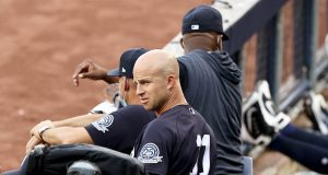 NEW YORK, NEW YORK - JULY 20: Brett Gardner #11 of the New York Yankees looks on from the dugout in the first inning against the Philadelphia Phillies during a Summer Camp game at Yankee Stadium on July 20, 2020 in the Bronx borough of New York City.