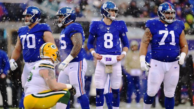 EAST RUTHERFORD, NEW JERSEY - DECEMBER 01: Daniel Jones #8 of the New York Giants looks on during the first half of their game against the Green Bay Packers at MetLife Stadium on December 01, 2019 in East Rutherford, New Jersey.
