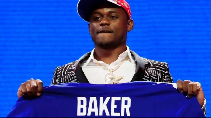 NASHVILLE, TENNESSEE - APRIL 25: Deandre Baker of Georgia reacts after being chosen #30 overall by the New York Giants during the first round of the 2019 NFL Draft on April 25, 2019 in Nashville, Tennessee.