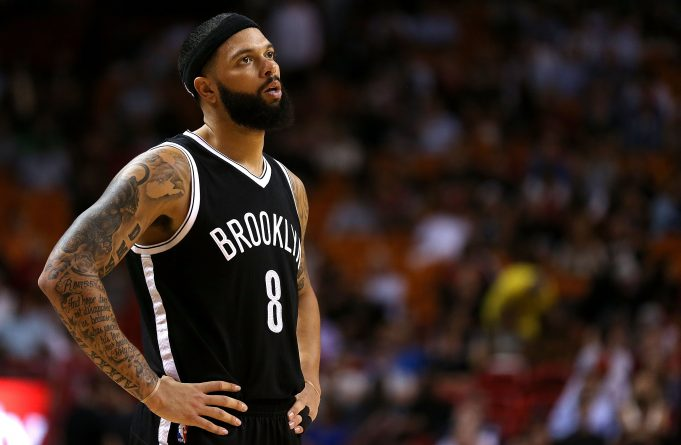 MIAMI, FL - MARCH 11: Deron Williams #8 of the Brooklyn Nets looks on during a game against the Miami Heat at American Airlines Arena on March 11, 2015 in Miami, Florida. NOTE TO USER: User expressly acknowledges and agrees that, by downloading and/or using this photograph, user is consenting to the terms and conditions of the Getty Images License Agreement. Mandatory copyright notice:
