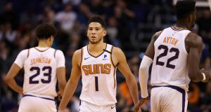 PHOENIX, ARIZONA - FEBRUARY 26: Devin Booker #1 of the Phoenix Suns during the second half of the NBA game against the LA Clippers at Talking Stick Resort Arena on February 26, 2020 in Phoenix, Arizona. The Clippers defeated the Suns 102-92. NOTE TO USER: User expressly acknowledges and agrees that, by downloading and or using this photograph, user is consenting to the terms and conditions of the Getty Images License Agreement. Mandatory Copyright Notice: Copyright 2020 NBAE.