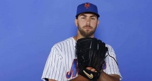 PORT ST. LUCIE, FLORIDA - FEBRUARY 21: David Peterson #77 of the New York Mets poses for a photo on Photo Day at First Data Field on February 21, 2019 in Port St. Lucie, Florida.