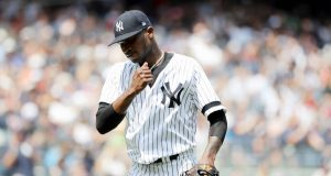 NEW YORK, NEW YORK - AUGUST 03: Domingo German #55 of the New York Yankees celebrates as he walks off the field in the fourth inning against the Boston Red Sox during game one of a double header at Yankee Stadium on August 03, 2019 in the Bronx borough of New York City.