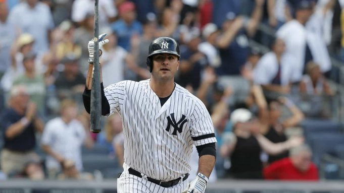 NEW YORK, NEW YORK - SEPTEMBER 01: Mike Ford #36 of the New York Yankees reacts after his ninth inning pinch hit game winning home run against the Oakland Athletics at Yankee Stadium on September 01, 2019 in New York City.