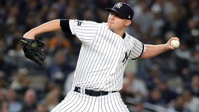 NEW YORK, NEW YORK - OCTOBER 15: Zack Britton #53 of the New York Yankees pitches during the seventh inning against the Houston Astros in game three of the American League Championship Series at Yankee Stadium on October 15, 2019 in New York City.