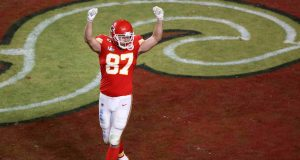 MIAMI, FLORIDA - FEBRUARY 02: Travis Kelce #87 of the Kansas City Chiefs reacts against the San Francisco 49ers during the fourth quarter in Super Bowl LIV at Hard Rock Stadium on February 02, 2020 in Miami, Florida.