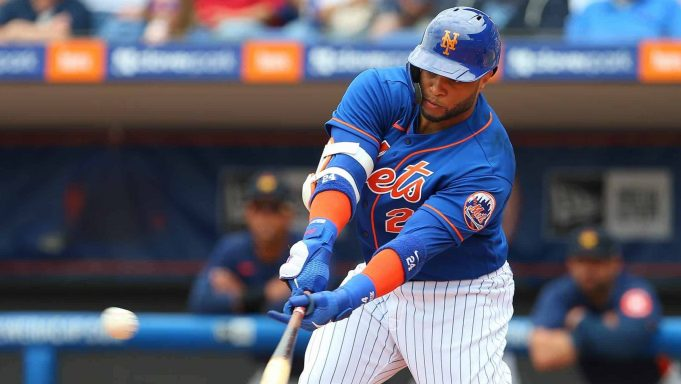 PORT ST. LUCIE, FL - MARCH 08: Robinson Cano #24 of the New York Mets hits a single against the Houston Astros during the first inning of a spring training baseball game at Clover Park on March 8, 2020 in Port St. Lucie, Florida. The Mets defeated the Astros 3-1.