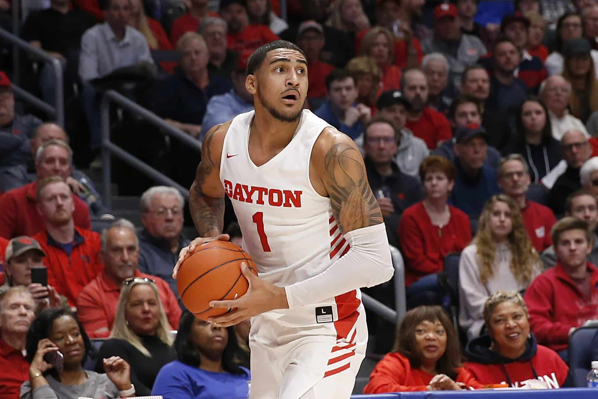 DAYTON, OHIO - FEBRUARY 22: Obi Toppin #1 of the Dayton Flyers looks to pass the ball in the game against the Duquesne Dukes at UD Arena on February 22, 2020 in Dayton, Ohio.