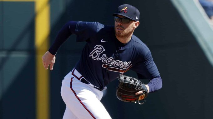 NORTH PORT, FL - FEBRUARY 22: Freddie Freeman #5 of the Atlanta Braves plays defense at first base in the third inning of a Grapefruit League spring training game against the Baltimore Orioles at CoolToday Park on February 22, 2020 in North Port, Florida. The Braves defeated the Orioles 5-0. New York Mets
