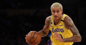 LOS ANGELES, CALIFORNIA - FEBRUARY 25: Kyle Kuzma #0 of the Los Angeles Lakers drives to the basket in a game against the New Orleans Pelicans during the second half at Staples Center on February 25, 2020 in Los Angeles, California.