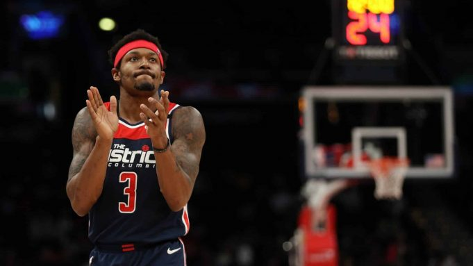 WASHINGTON, DC - MARCH 10: Bradley Beal #3 of the Washington Wizards in action against the New York Knicks during the first half at Capital One Arena on March 10, 2020 in Washington, DC. New York Mets