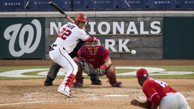 WASHINGTON, DC - JULY 18: Juan Soto #22 of the Washington Nationals bats against the Philadelphia Phillies during the sixth inning at Nationals Park on July 18, 2020 in Washington, DC.