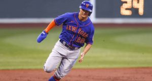 BOSTON, MA - JULY 28: J.D. Davis #28 of the New York Mets rounds third base on his way to scoring in the second inning against the Boston Red Sox at Fenway Park on July 28, 2020 in Boston, Massachusetts.