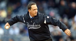 NEW YORK, NY - OCTOBER 12: Former New York Yankees David Cone throws out the first pitch prior to Game Five of the American League Division Series against the Baltimore Orioles at Yankee Stadium on October 12, 2012 in New York, New York.