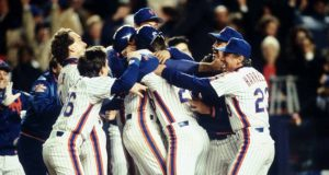 OCT 1986: THE NEW YORK METS CELEBRATE DURING THE METS 4-3 WIN OVER THE BOSTON RED SOX IN GAME 6 OF THE WORLD SERIES AT SHEA STADIUM IN NEW YORK, NEW YORK.