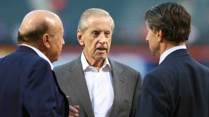 NEW YORK, NY - OCTOBER 13: (L-R) Chief Executive Officer Saul Katz, Owner Fred Wilpon and Chief Operating Officer Jeff Wilpon of the New York Mets talk prior to game four of the National League Division Series against the Los Angeles Dodgers at Citi Field on October 13, 2015 in New York City.