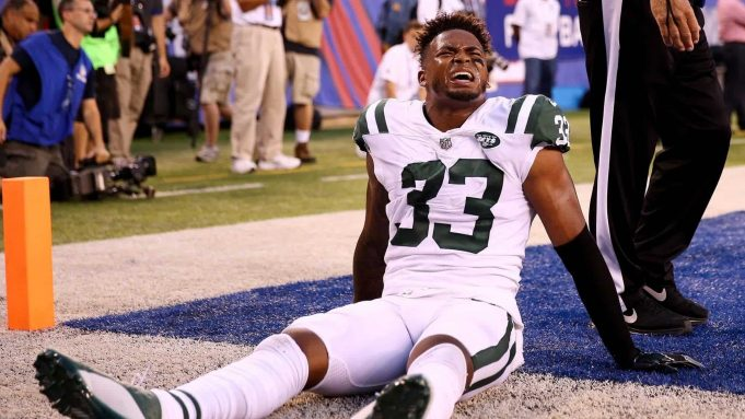 EAST RUTHERFORD, NJ - AUGUST 26: Jamal Adams #33 of the New York Jets is shaken up on a play in the first quarter against the New York Giants during a preseason game on August 26, 2017 at MetLife Stadium in East Rutherford, New Jersey