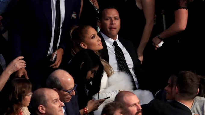 LAS VEGAS, NV - AUGUST 26: Actress Jennifer Lopez and former MLB player Alex Rodriguez attend the super welterweight boxing match between Floyd Mayweather Jr. and Conor McGregor on August 26, 2017 at T-Mobile Arena in Las Vegas, Nevada. New York Mets
