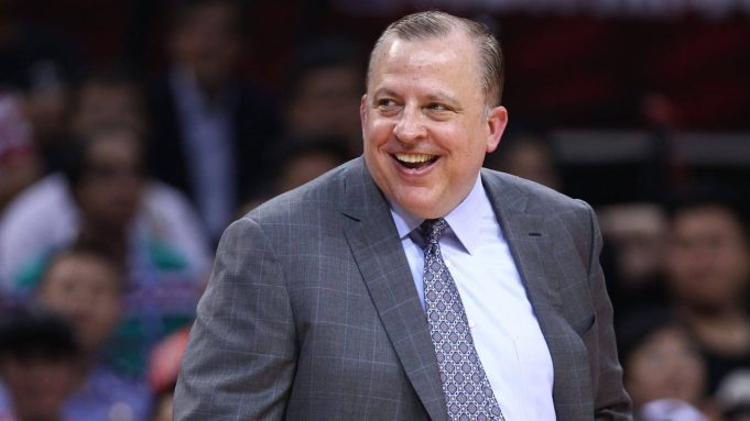 SHENZHEN, CHINA - OCTOBER 05: Head coach Tom Thibodeau of the Minnesota Timberwolves reacts during the game between the Minnesota Timberwolves and the Golden State Warriors as part of 2017 NBA Global Games China at Universidade Center on October 5, 2017 in Shenzhen, China.