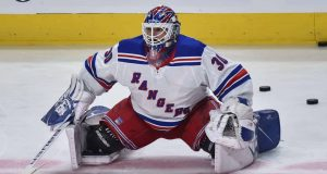 MONTREAL, QC - FEBRUARY 27: Goaltender Henrik Lundqvist #30 of the New York Rangers stretches during the warm-up prior to the game against the Montreal Canadiens at the Bell Centre on February 27, 2020 in Montreal, Canada. The New York Rangers defeated the Montreal Canadiens 5-2.