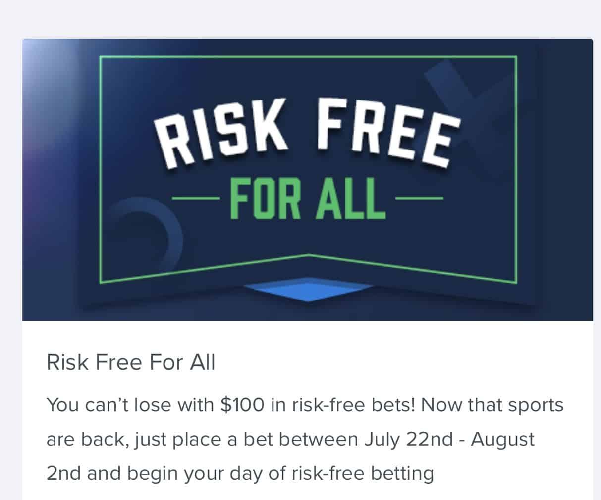 fanduel sportsbook $100 risk free offer
