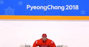 GANGNEUNG, SOUTH KOREA - FEBRUARY 25: Ilya Sorokin #31 of Olympic Athlete from Russia warms up before the Men's Ice Hockey Gold Medal Game against Germany on day sixteen of the PyeongChang 2018 Winter Olympic Games at Gangneung Hockey Centre on February 25, 2018 in Gangneung, South Korea.