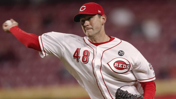 CINCINNATI, OH - APRIL 10: Jared Hughes #48 of the Cincinnati Reds pitches during the sixth inning of the game against the Miami Marlins at Great American Ball Park on April10, 2019 in Cincinnati, Ohio.