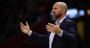 CLEVELAND, OH - NOVEMBER 07: Head coach Jason Kidd of the Milwaukee Bucks looks on from the bench while playing the Cleveland Cavaliers at Quicken Loans Arena on November 7, 2017 in Cleveland, Ohio. Cleveland won the game 124-119. NOTE TO USER: User expressly acknowledges and agrees that, by downloading and or using this photograph, User is consenting to the terms and conditions of the Getty Images License Agreement.