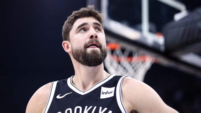 SHENZHEN, CHINA - OCTOBER 12: Joe Harris #12 of the Brooklyn Nets looks on during the match against the Los Angeles Lakers during a preseason game as part of 2019 NBA Global Games China at Shenzhen Universiade Center on October 12, 2019 in Shenzhen, Guangdong, China.