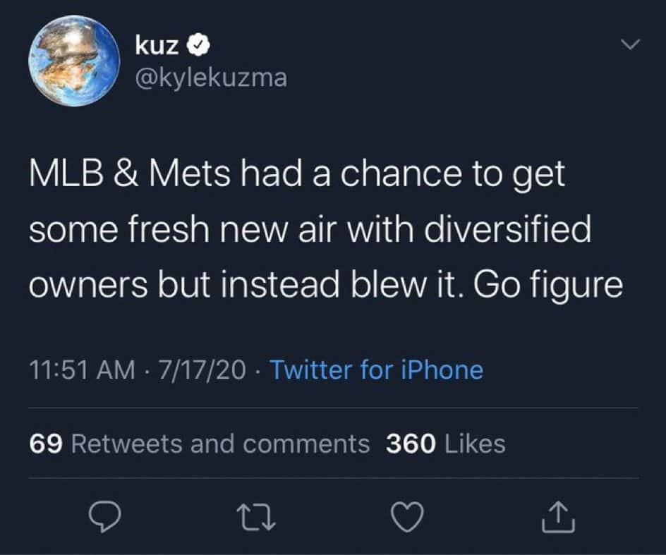 Kuzma tweet New York Mets