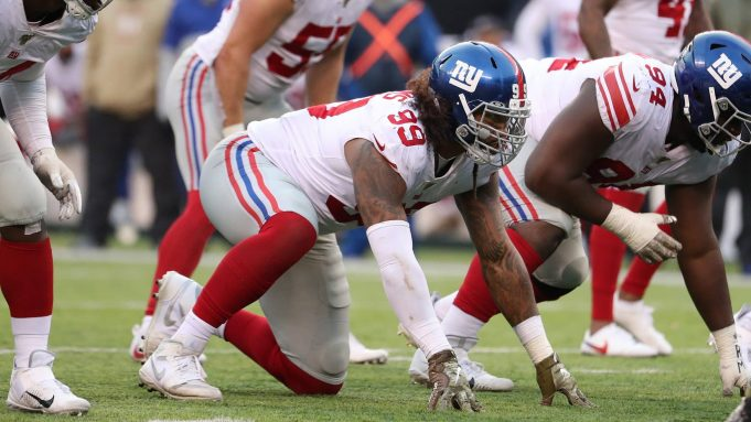 EAST RUTHERFORD, NEW JERSEY - NOVEMBER 10: Leonard Williams #99 of the New York Giants in action against the New York Jets during their game at MetLife Stadium on November 10, 2019 in East Rutherford, New Jersey.