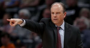 DENVER, COLORADO - DECEMBER 15: Head coach Mike Miller of the New York Knicks instructs his team as the play the Denver Nuggets in the first quarter at the Pepsi Center on December 15, 2019 in Denver, Colorado. NOTE TO USER: User expressly acknowledges and agrees that, by downloading and or using this photograph, User is consenting to the terms and conditions of the Getty Images License Agreement.