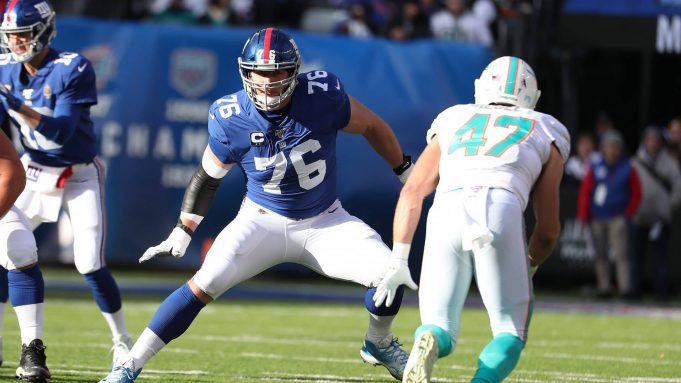 EAST RUTHERFORD, NEW JERSEY - DECEMBER 15: Nate Solder #76 of the New York Giants in action against Taybor Pepper #46 of the Miami Dolphins during their game at MetLife Stadium on December 15, 2019 in East Rutherford, New Jersey.