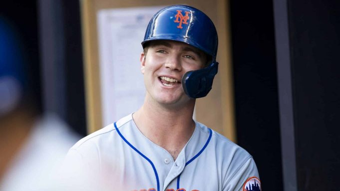 ATLANTA, GA - AUGUST 15: Pete Alonso #20 of the New York Mets looks on in the first inning during the game against the Atlanta Braves at SunTrust Park on August 15, 2019 in Atlanta, Georgia.