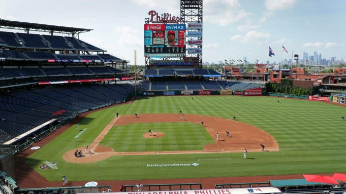 PHILADELPHIA, PA - JULY 25: A general view of the field during a game between the Miami Marlins and the Philadelphia Phillies at Citizens Bank Park on July 25, 2020 in Philadelphia, Pennsylvania. The 2020 season had been postponed since March due to the COVID-19 pandemic.