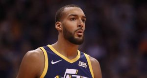 PHOENIX, ARIZONA - OCTOBER 28: Rudy Gobert #27 of the Utah Jazz reacts during the first half of the NBA game against the Phoenix Suns at Talking Stick Resort Arena on October 28, 2019 in Phoenix, Arizona. NOTE TO USER: User expressly acknowledges and agrees that, by downloading and/or using this photograph, user is consenting to the terms and conditions of the Getty Images License Agreement