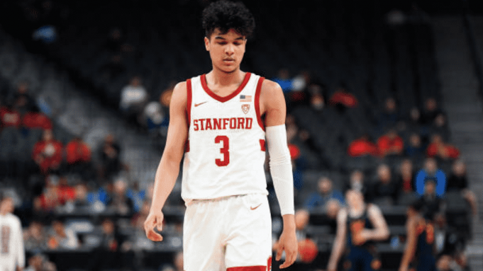 LAS VEGAS, NV - MARCH 11: Stanford Cardinal guard Tyrell Terry (3) looks on dejected during the first round game of the men's Pac-12 Tournament between the Stanford Cardinal and the California Bears on March 11, 2020, at the T-Mobile Arena in Las Vegas, NV.
