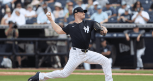 TAMPA, FL - MARCH 03: New York Yankees pitcher Clarke Schmidt (86) delivers a pitch during the MLB Spring Training game between the Boston Red Sox and New York Yankees on March 03, 2020 at George M. Steinbrenner Field in Tampa, FL.