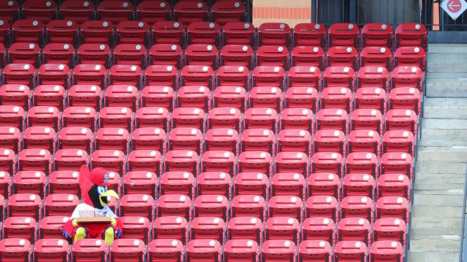 ST LOUIS, MO - JULY 26: St. Louis Cardinals mascot Fredbird tries to find a seat during a game between the St. Louis Cardinals and the Pittsburgh Pirates at Busch Stadium on July 26, 2020 in St Louis, Missouri.