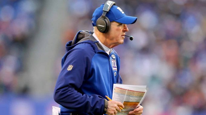 EAST RUTHERFORD, NJ - JANUARY 03: Head coach Tom Coughlin of the New York Giants directs his players in the second half against the Philadelphia Eagles at MetLife Stadium on January 3, 2016 in East Rutherford, New Jersey.The Philadelphia Eagles defeated the New York Giants 35-30.