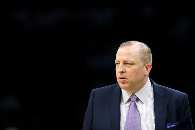 BOSTON, MASSACHUSETTS - JANUARY 02: Tom Thibodeau of the Minnesota Timberwolves looks on during the game against the Boston Celtics at TD Garden on January 02, 2019 in Boston, Massachusetts. NOTE TO USER: User expressly acknowledges and agrees that, by downloading and or using this photograph, User is consenting to the terms and conditions of the Getty Images License Agreement.