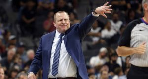 SAN ANTONIO,TX - OCTOBER 18: Minnesota Timberwolves Tom Thibodeau shows his displeasure with the official during game against the San Antonio Spurs at AT&T Center on October 18, 2017 in San Antonio, Texas. NOTE TO USER: User expressly acknowledges and agrees that , by downloading and or using this photograph, User is consenting to the terms and conditions of the Getty Images License Agreement.