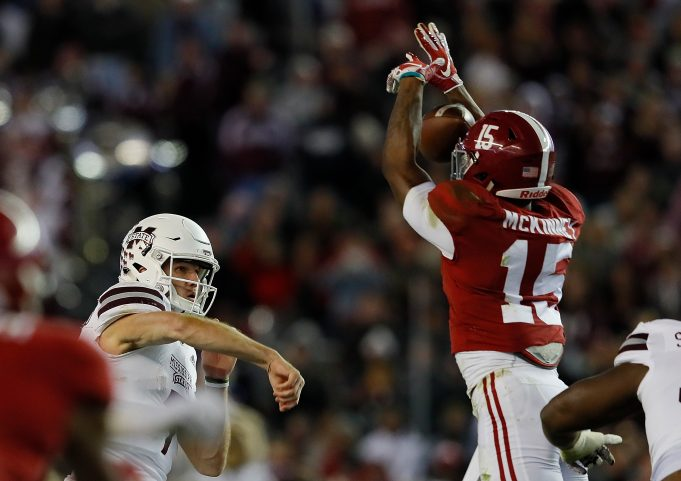 TUSCALOOSA, AL - NOVEMBER 10: Xavier McKinney #15 of the Alabama Crimson Tide knocks down a pass by Nick Fitzgerald #7 of the Mississippi State Bulldogs at Bryant-Denny Stadium on November 10, 2018 in Tuscaloosa, Alabama.