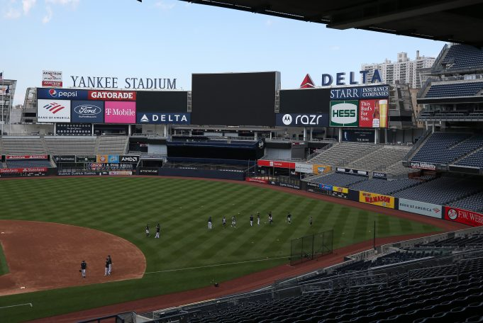 NEW YORK, NEW YORK - JULY 04: The New York Yankees work out in an empty stadium during summer workouts at Yankee Stadium on July 04, 2020 in the Bronx borough of New York City.