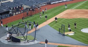 NEW YORK, NEW YORK - JULY 08: Practice is halted due to rain during New York Yankees summer workouts at Yankee Stadium on July 08, 2020 in the Bronx borough of New York City.