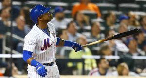 NEW YORK, NY - MAY 01: Yoenis Cespedes #52 of the New York Mets connects on a solo home run in the sixth inning against the Atlanta Braves at Citi Field on May 1, 2018 in the Flushing neighborhood of the Queens borough of New York City.