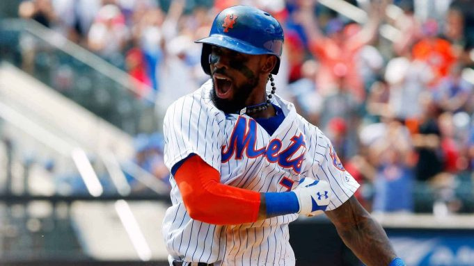 NEW YORK, NY - JULY 20: Jose Reyes #7 of the New York Mets celebrates his ninth inning game-winning infield base hit against the St. Louis Cardinals on July 20, 2017 at Citi Field in the Flushing neighborhood of the Queens borough of New York City.