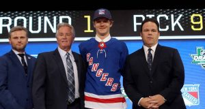 DALLAS, TX - JUNE 22: Vitali Kravtsov pose after being selected ninth overall by the New York Rangers during the first round of the 2018 NHL Draft at American Airlines Center on June 22, 2018 in Dallas, Texas.